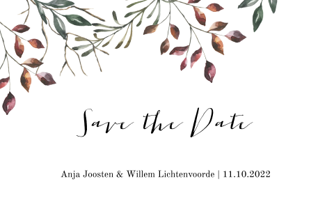 Save the Date kaart met herfsttakjes