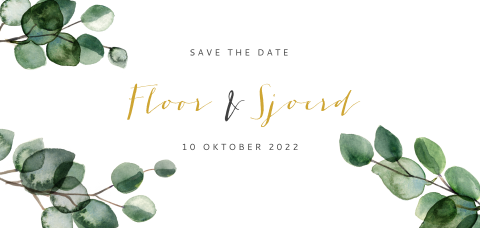 Panorama Save the Date met eucalyptus blaadjes