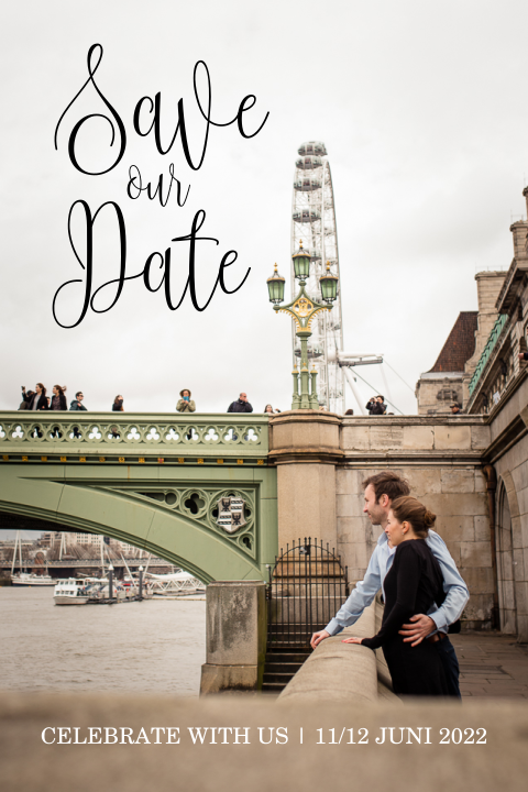 Save the Date met foto en trendy letters