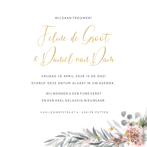 Save the Date kerstkaart met eucalyptus krans