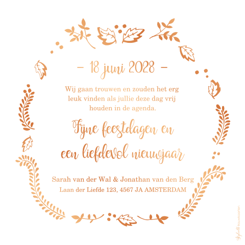 Trendy kerst Save the Date kaart met koperfolie