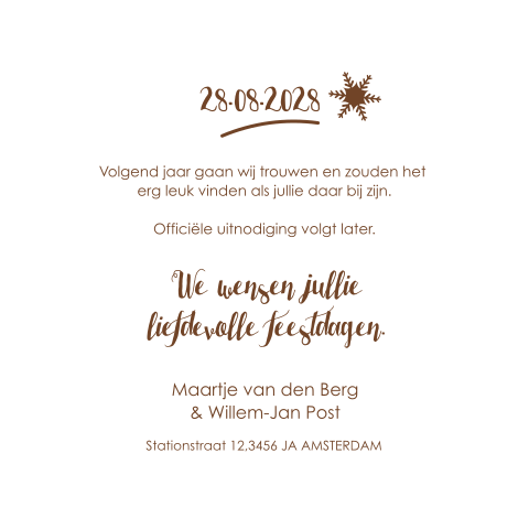 Kerst Save the Date kaart met illustraties
