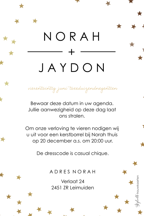 Chique Save the Date kerstkaart met sterretjes confetti