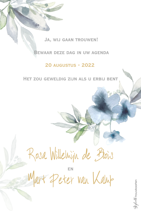Save the Date kaart met watercolor bloemetjes