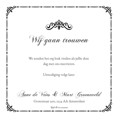 Trendy Save the Date kaart met klassiek ontwerp