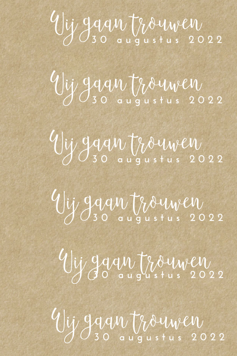 Kraft labeltje voor aan Save the Date of trouwkaart