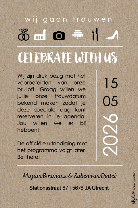 Save the Date met foto op kraft