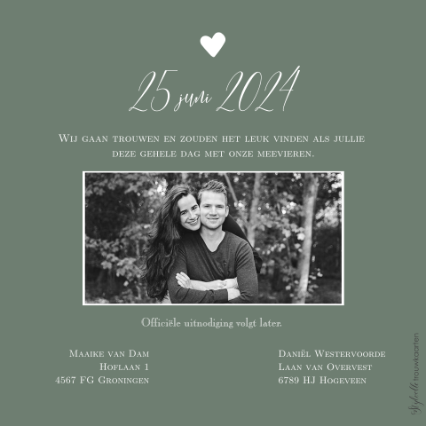 Trendy Save the Date kaart met foto