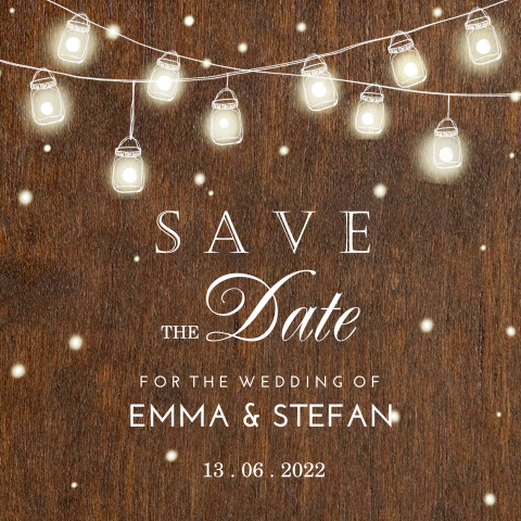 Save the Date kaart met slinger van mason jars