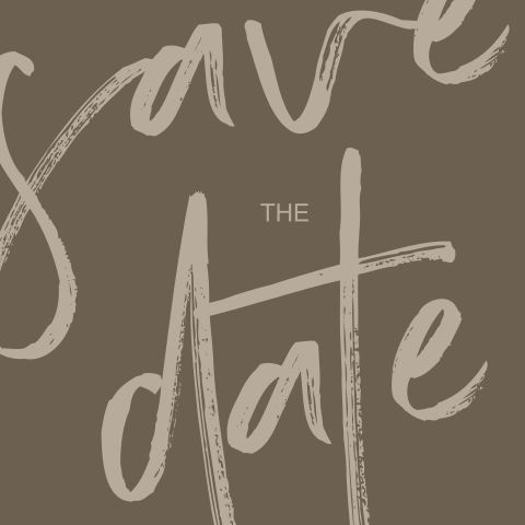 Moderne Save the Date met grote letters