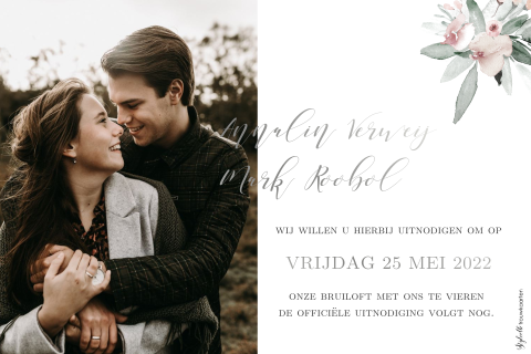 Romantische Save the Date kaart met zilverfolie