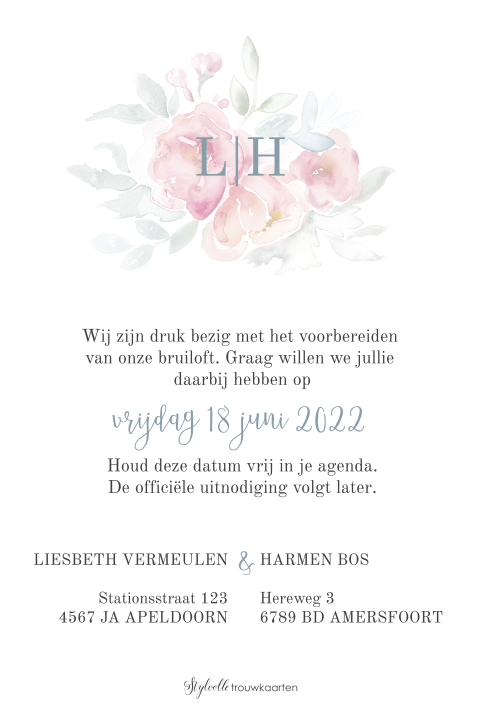 Save the Date kaart met bloemen