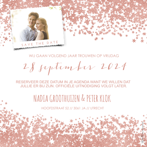 Save the Date kaart met rose goud sterretjes en foto