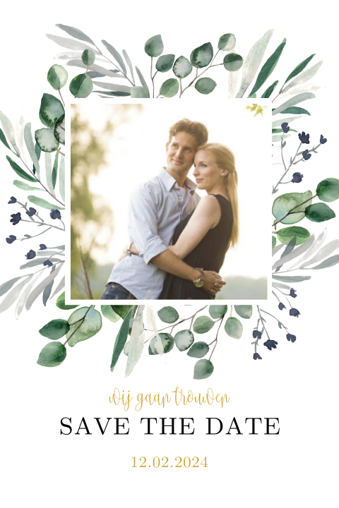 Save the Date kaart met foto en eucalyptus