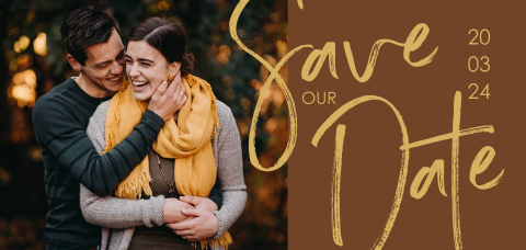 Save the Date met foto en grote letters