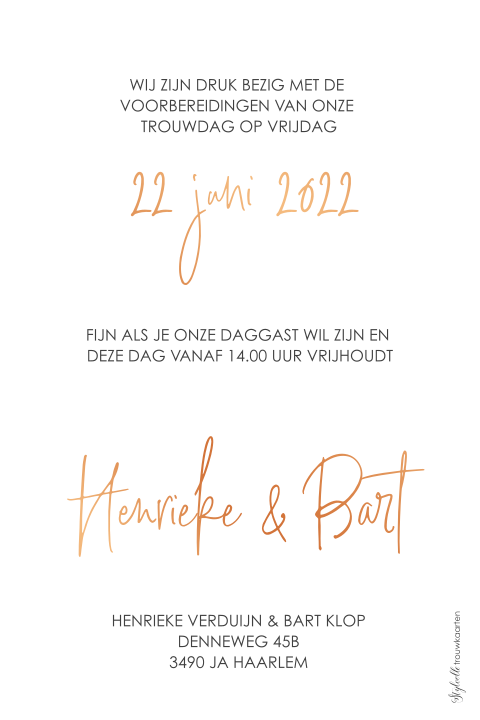 Save the Date met foto en koperfolie