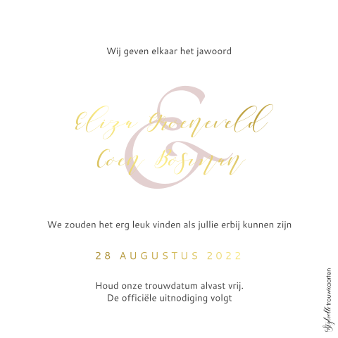 Save the Date met goudfolie en ampersand