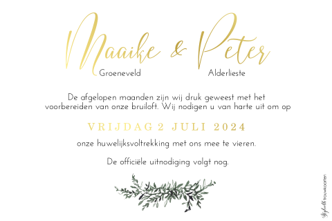 Save the Date kaart met foto en goudfolie