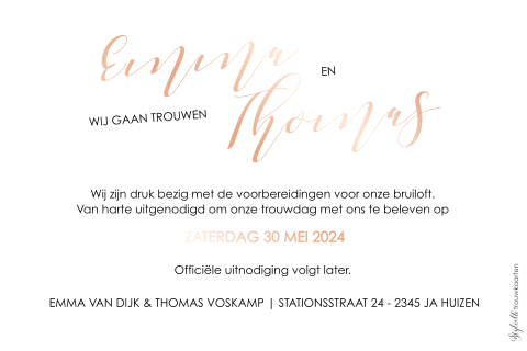 Hippe Save the Date met rosefolie