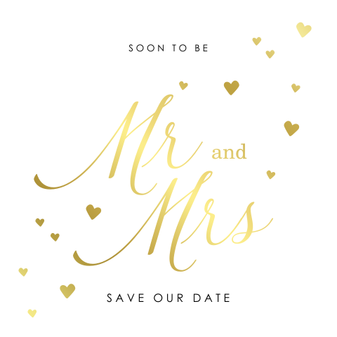 Save the Date kaart goudfolie Mr and Mrs en hartjes