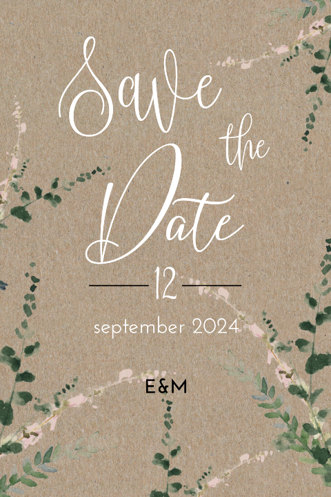 Save the Date kaart met kraft look en takjes