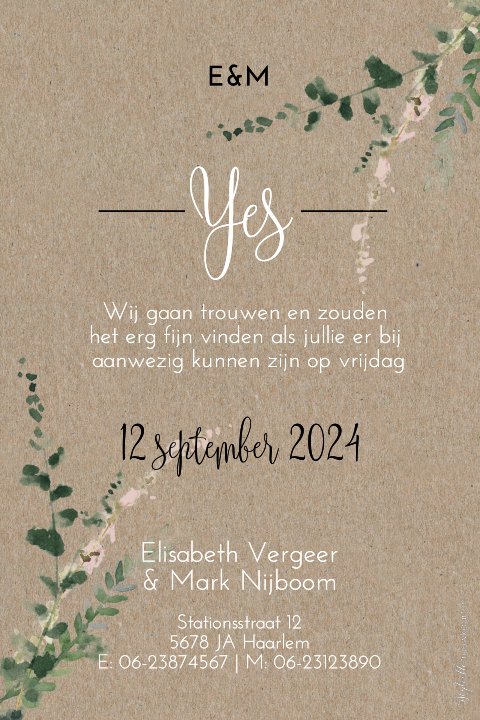 Kraft Save the Date kaart met takjes