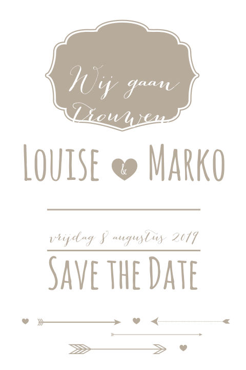 Lieve typografische save the date kaart in toupe