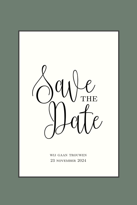 Trendy Save the Date kaart met lakzegel