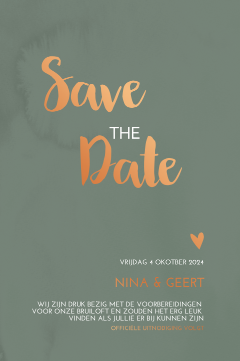 Save the Date kaart - minimalistisch met koperfolie