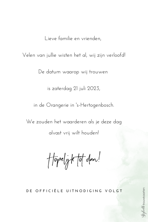 Minimalistische Save the Date kaart met takje