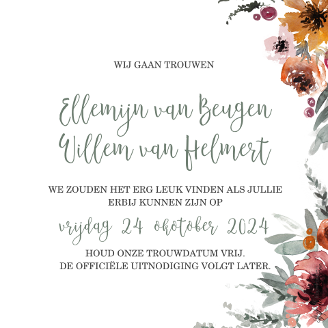 Save the Date met takjes in bloemen in roest tinten