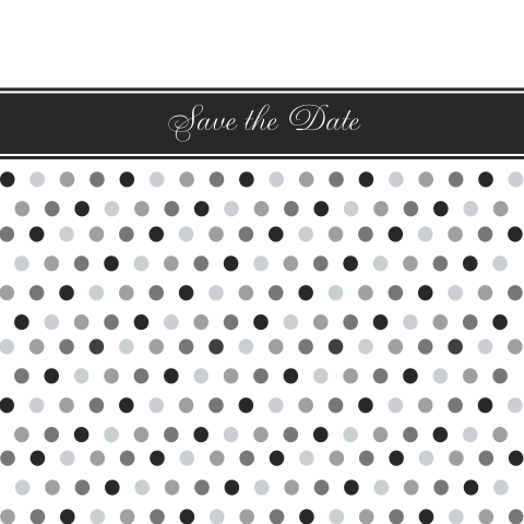 Leuke Save the Date met polka dots in grijstinten