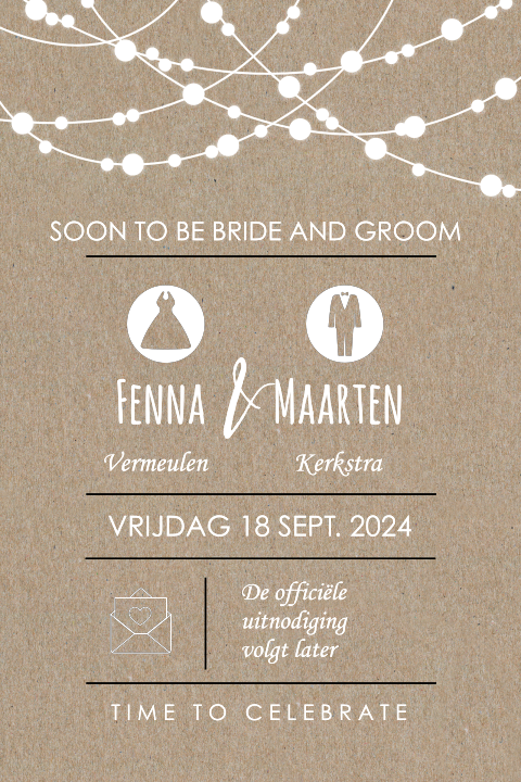 Save the Date kaart met kraft en lampjes