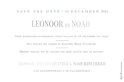 Save the Date kaart met kransje zilverfolie