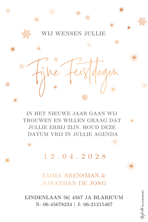 Save the Date kerstkaart met foto en folie