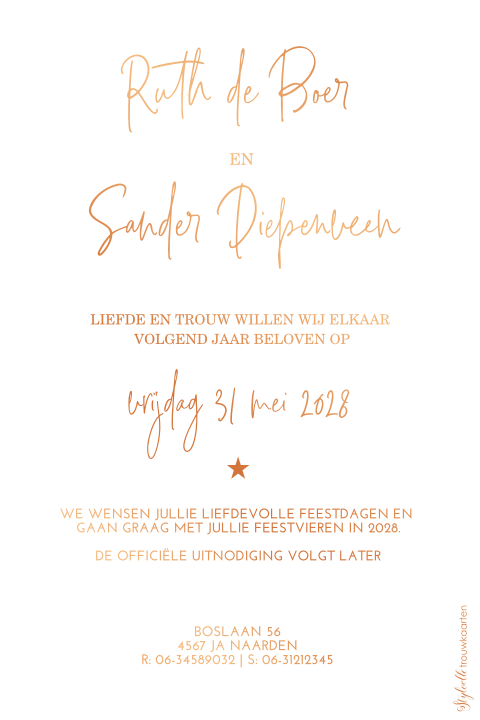 Save the Date kerstkaart met koperfolie en print