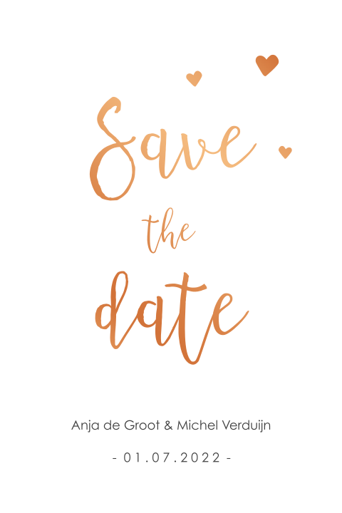 Save the Date met koperfolie en hartjes