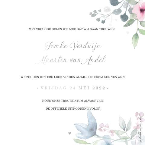 Save the Date met kransje en zilverfolie