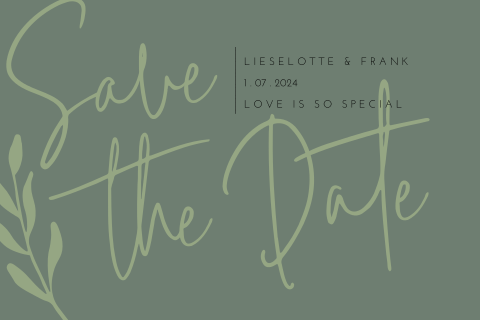Minimalistische Save the Date met takje