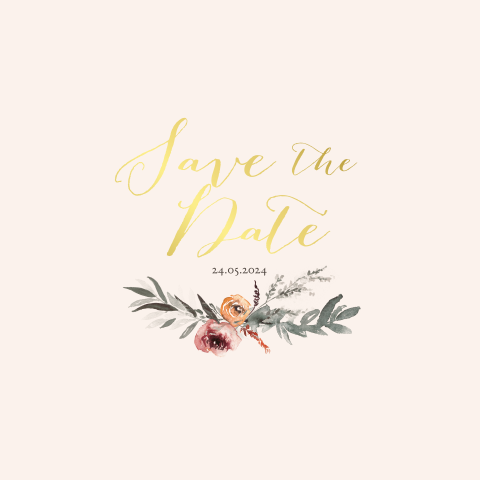 Save the Date met goudfolie en takje