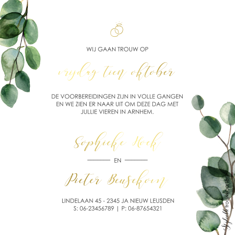 Trendy Save the Date met eucalyptus en goudfolie