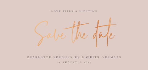 Trendy Save the Date kaart met koperfolie