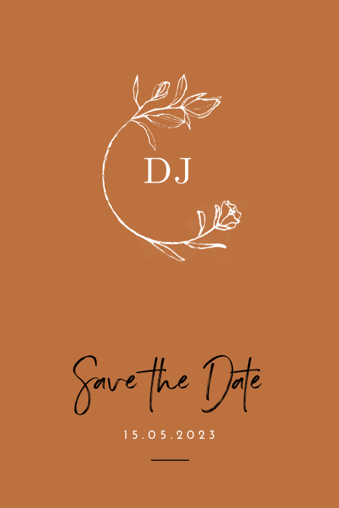 Trendy Save the Date in roest kleur