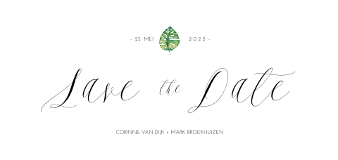 Save the Date kaart met tropisch blaadje