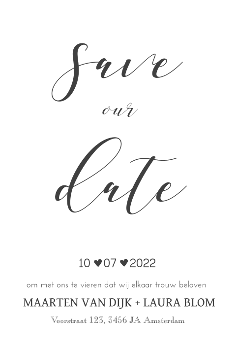 Save the Date met trendy typografie in antraciet