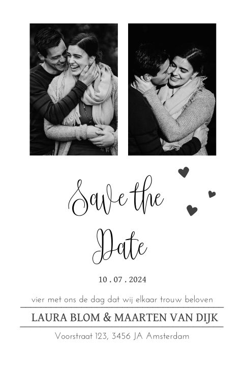 Save the Date met trendy letters en foto