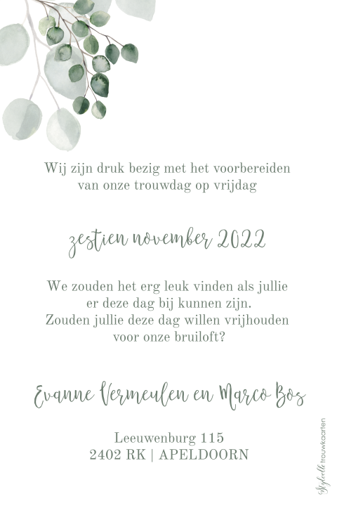 Save the Date kaart met foto en velvet green