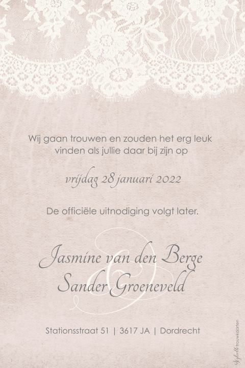 Vintage Save the Date met romantisch kant