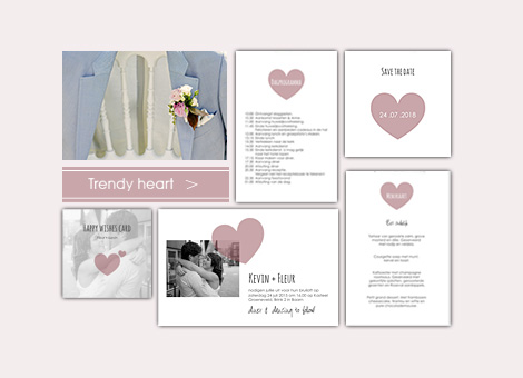 Trouwkaart met trendy heart