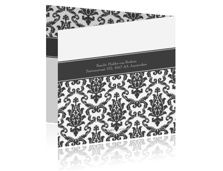 Jubileumkaart met een uniek barok patroon - Te vangen zwart wit ontwerp ...